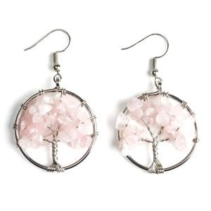 Rose Quartz Chip Tree Of Life Hoop Earrings
